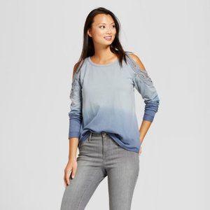New KNOX ROSE Crochet Cold-Shoulder Sweatshirt S